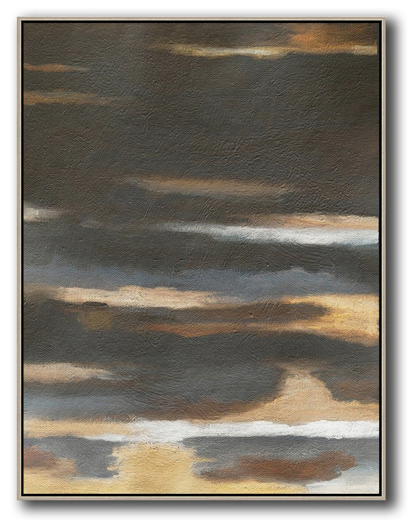 Abstract Painting Extra Large Canvas Art,Oversized Abstract Landscape Painting,Hand-Painted Contemporary Art,Black,Yellow,Brown,Grey.etc